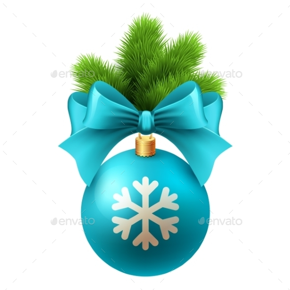 GraphicRiver Merry Christmas Card with Blue Bauble 9722181