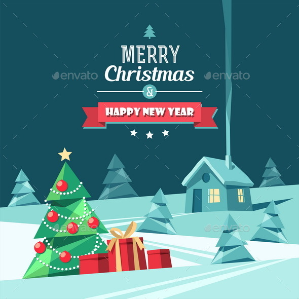 GraphicRiver Christmas and New Year Card 9722209
