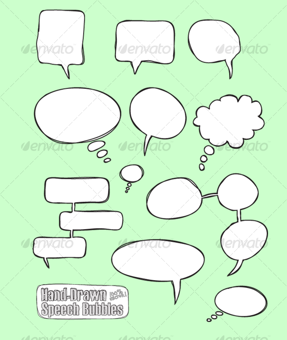 Comic Hand Drawn Speech Bubbles (vector) - Decorative Vectors