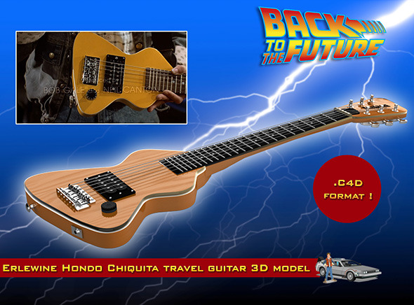 3DOcean Erlewine Hondo Chiquita Travel Guitar 3D Model 9722559