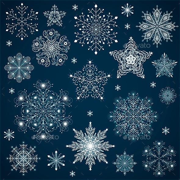 GraphicRiver Ornate Snowflakes Set 9722573