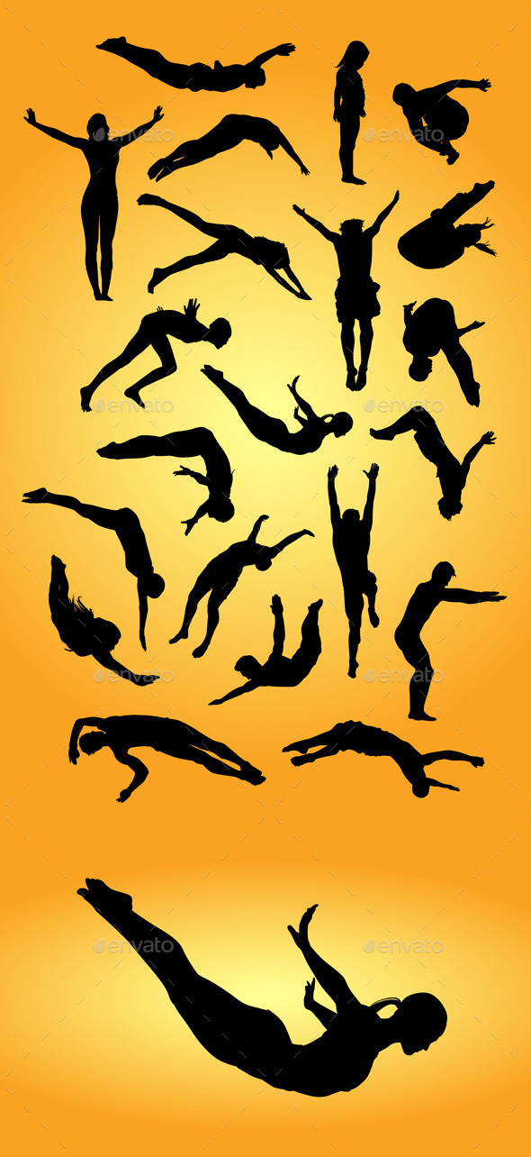 GraphicRiver Jump Dive Sport Silhouettes 9722818