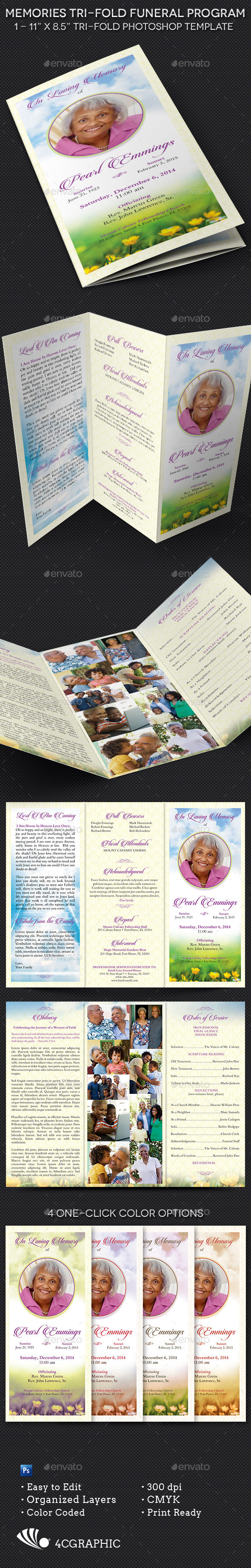 GraphicRiver Memories Tri-fold Funeral Program Template 9723088