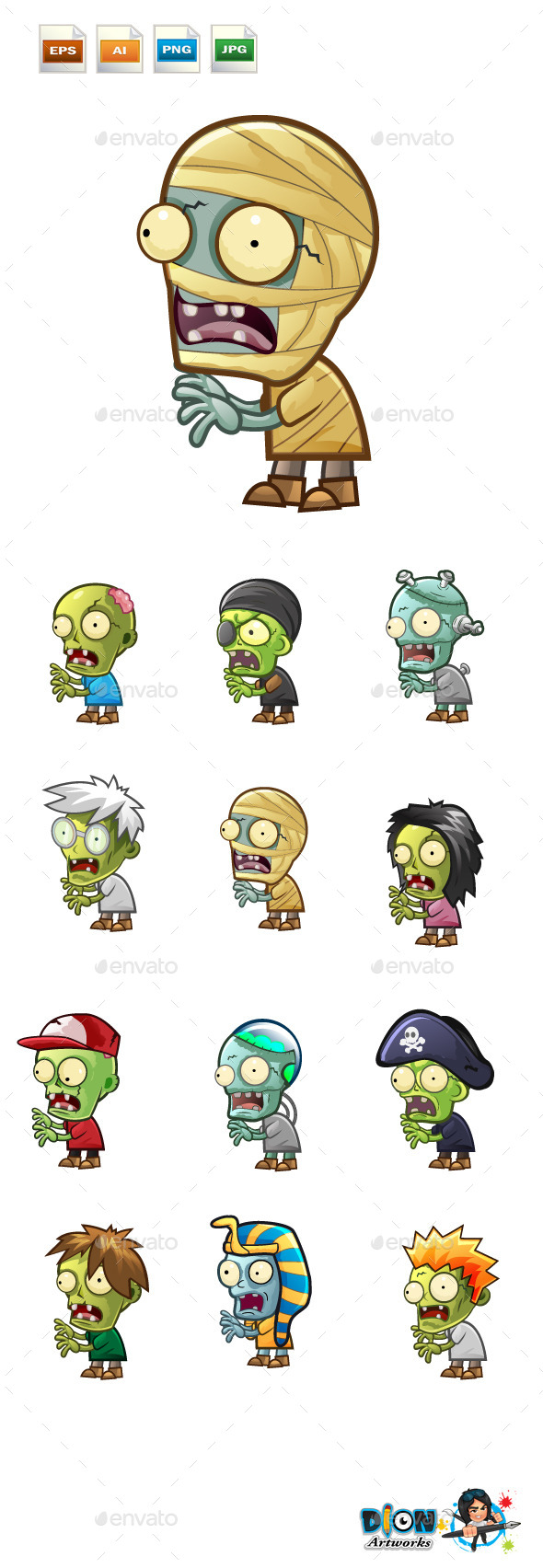 GraphicRiver Cartoon Zombies Pack 9723118