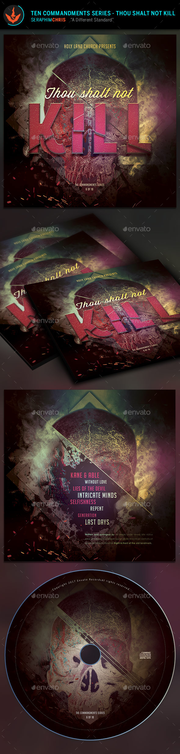 GraphicRiver Thou Shalt Not Kill CD Artwork Template 9723288