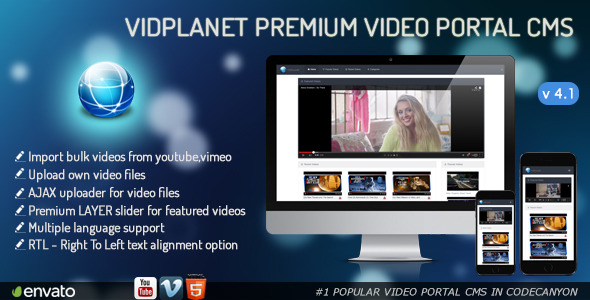 Vidplanet Premium Video Portal Cms - CodeCanyon Item for Sale