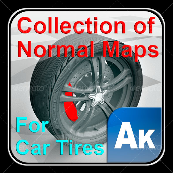 3DOcean Collection of normal maps for car tires 123678