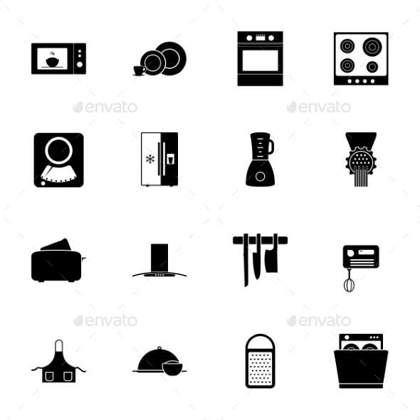 GraphicRiver Kitchen Silhouettes Icons Set 9724232
