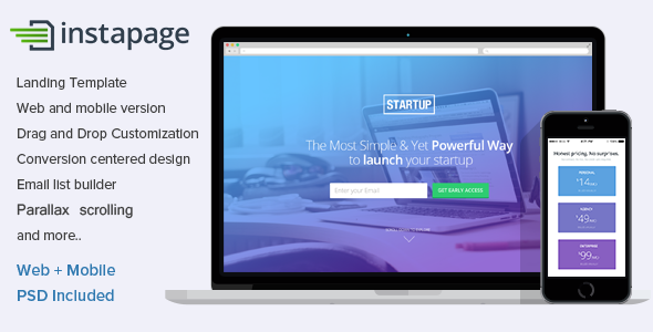 Instapage Landing Page Template for Startups