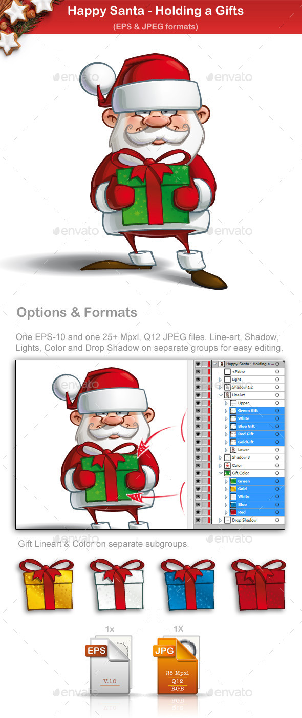 GraphicRiver Happy Santa Holding a Gifts 9724693