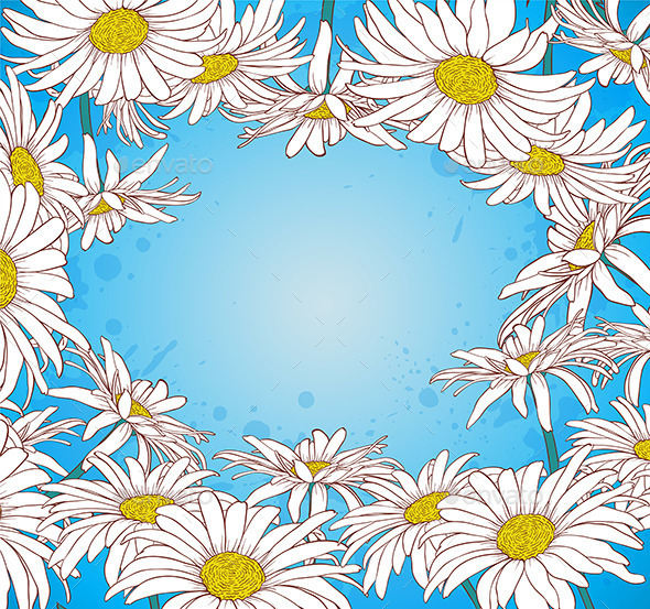 GraphicRiver Chamomile on a Blue Background 9724956