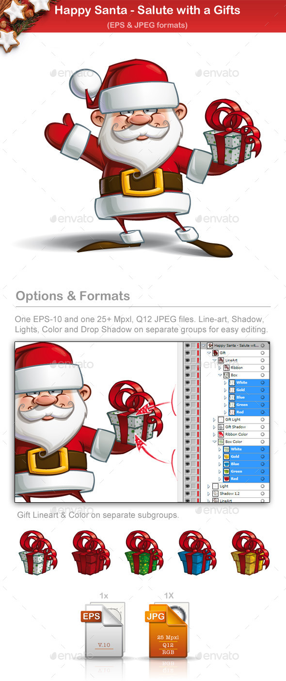 GraphicRiver Happy Santa Salute with a Gifts 9724967