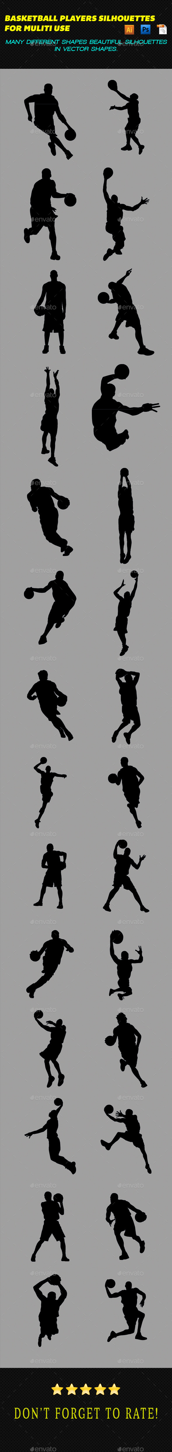 GraphicRiver Basketball Players Silhouettes 9725133