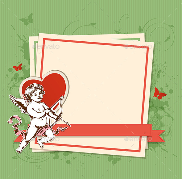 GraphicRiver Green Background with Cupid 9725412