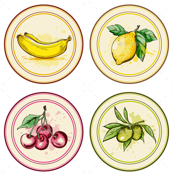 Vintage Labels with Fruits