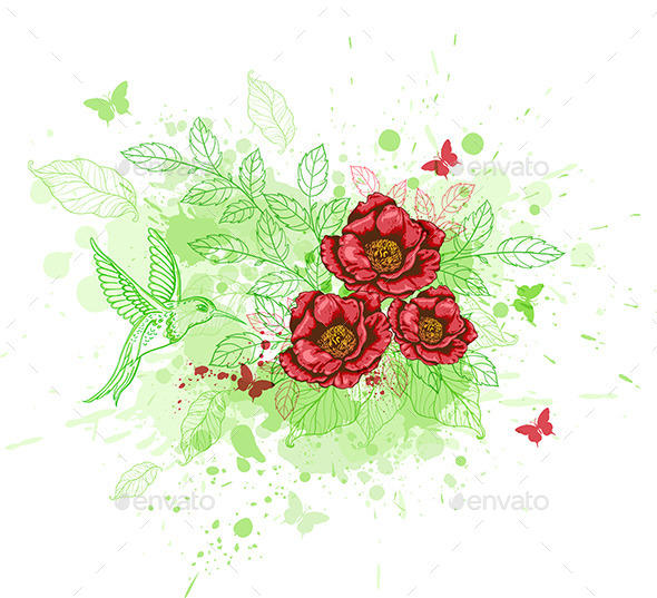 GraphicRiver Abstract Background with Red Flowers 9725430