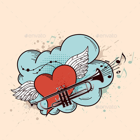 GraphicRiver Red Heart and Trumpet 9725452