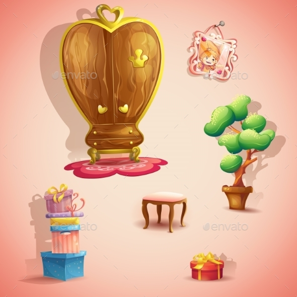 GraphicRiver Set of Furniture and Items for the Doll Princess 9725486