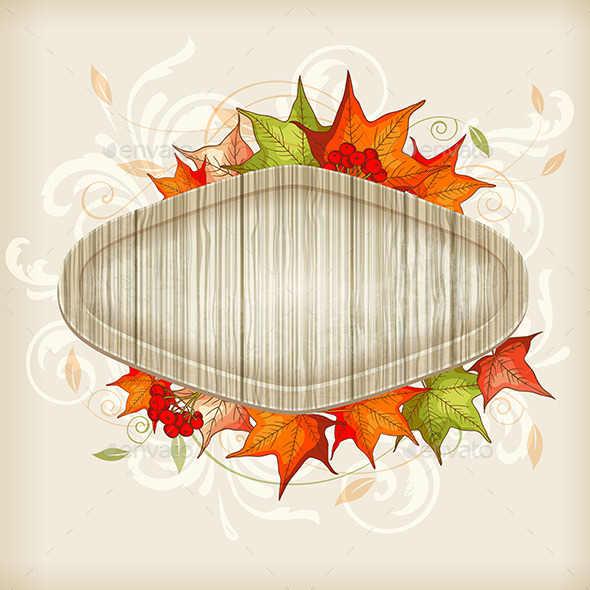 GraphicRiver Autumn Background with Maple Leaves 9725508