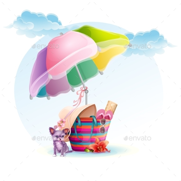 GraphicRiver Beach Bag with an Umbrella and a Dog 9725694