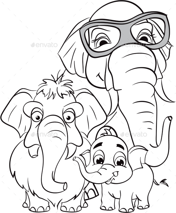 GraphicRiver Outline Drawing of a Family of Elephants 9725704