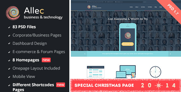 Allec - Business & Technology PSD Template - Software Technology