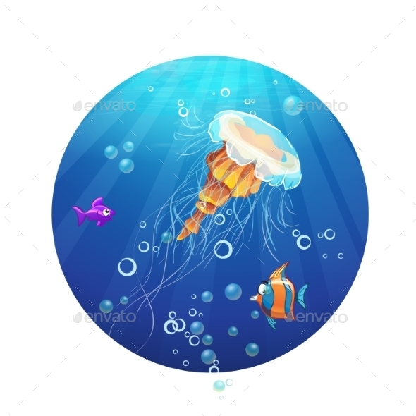 GraphicRiver Cartoon Image of a Jellyfish and Sea Fish 9725822