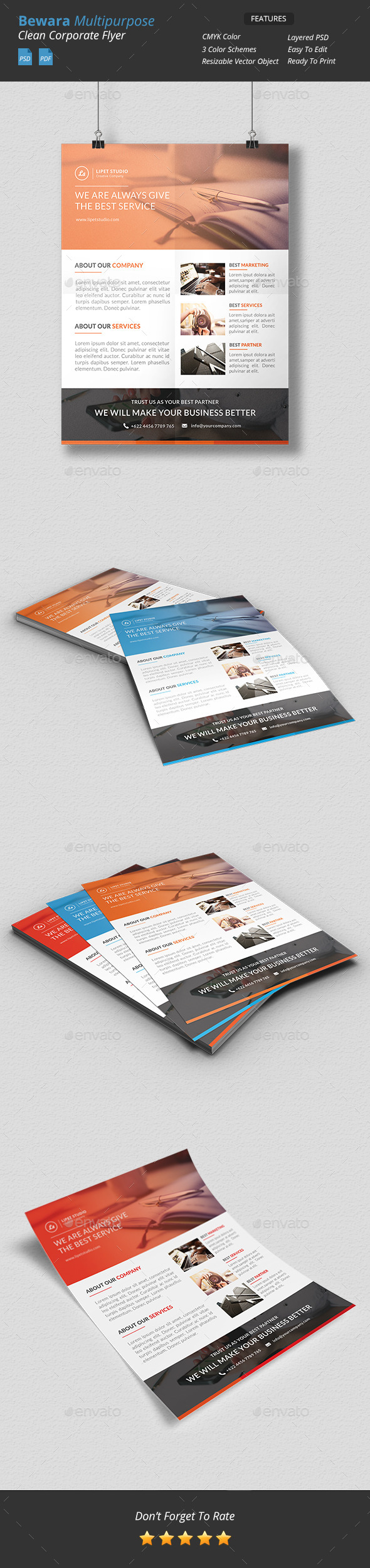 GraphicRiver Bewara Clean Multipurpose Corporate Flyer 9725872