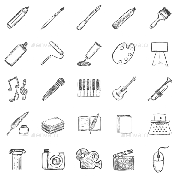 GraphicRiver Set of Sketch Art Icons 9725878