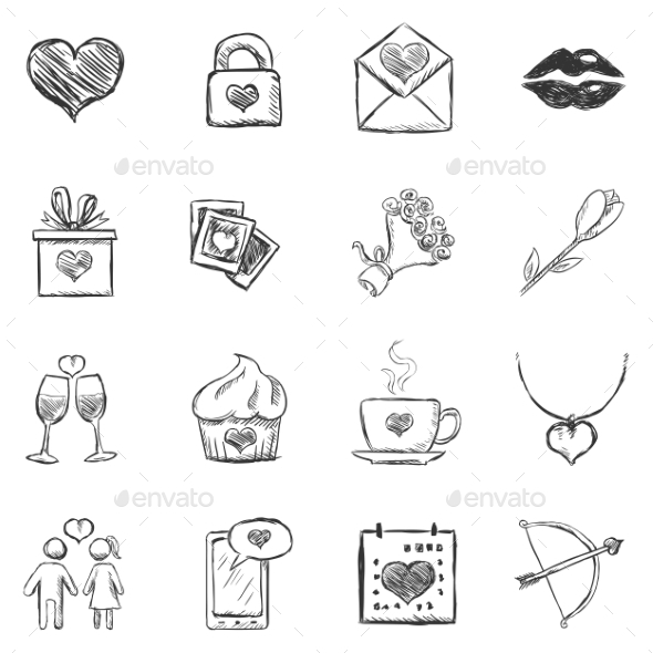 GraphicRiver Set of Sketch Valentine Icons 9725883