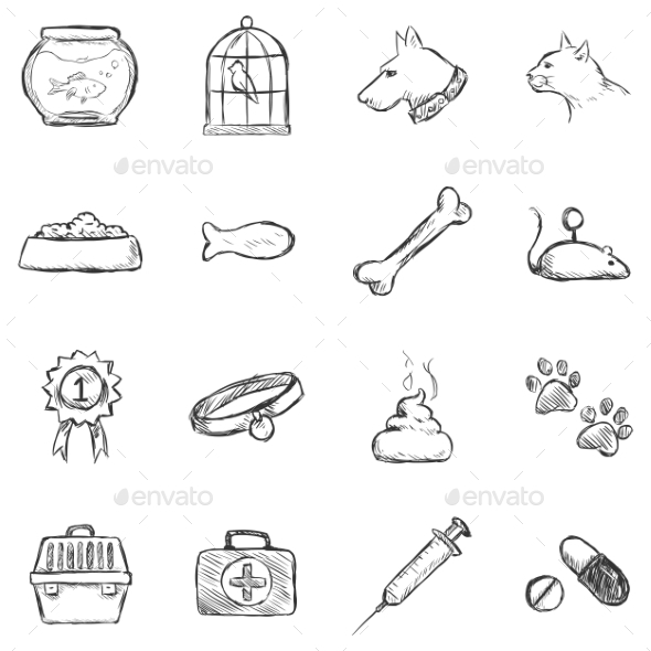 Set of Sketch Pets Icons