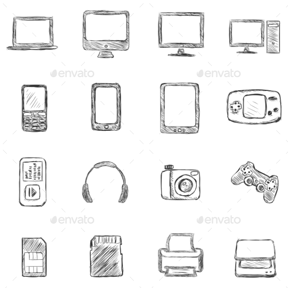 Set of Sketch Computer Devices Icons