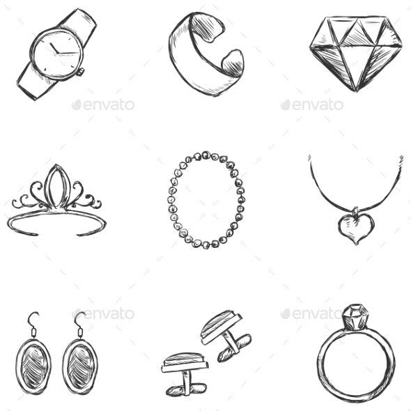GraphicRiver Set of Sketch Jewelry Icons 9725910