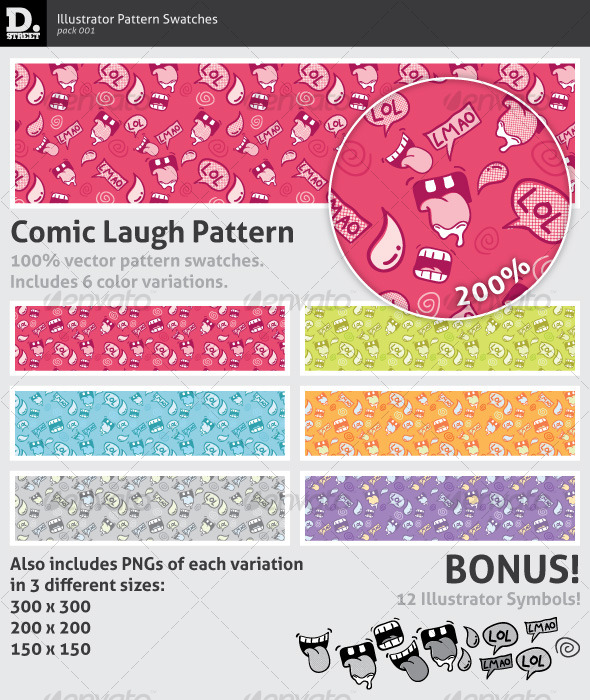 Comic Laugh Pattern - Textures / Fills / Patterns Illustrator