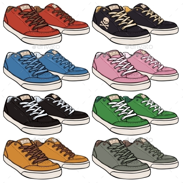 Set of Cartoon Skaters Shoes