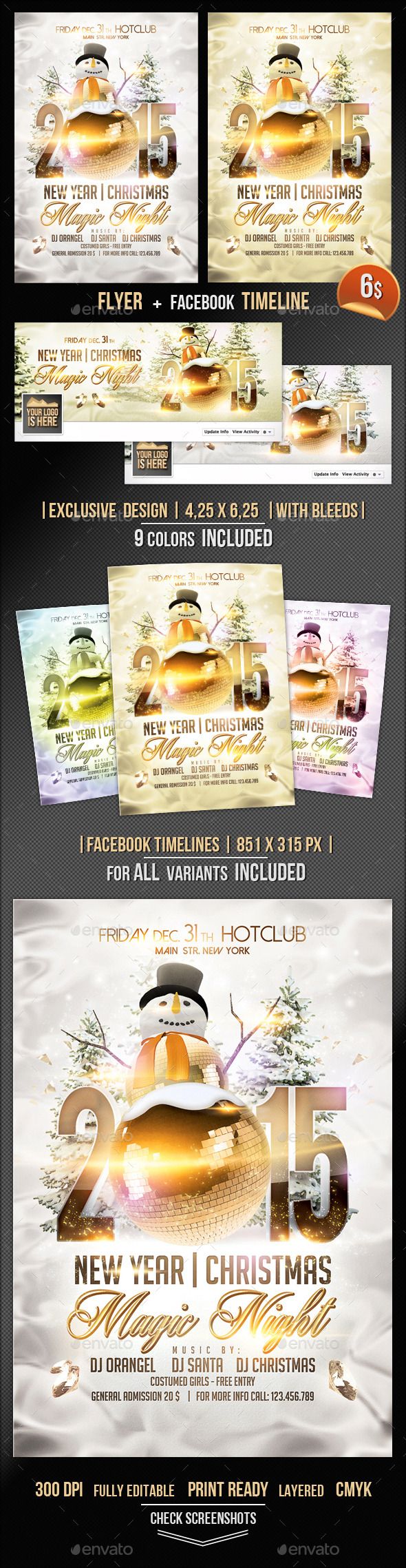 GraphicRiver Magic Christmas Flyer & Fb Timeline Template 9693803