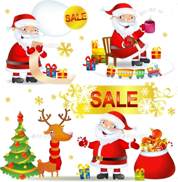 GraphicRiver Set Christmas Sale with Santa Claus 9726116
