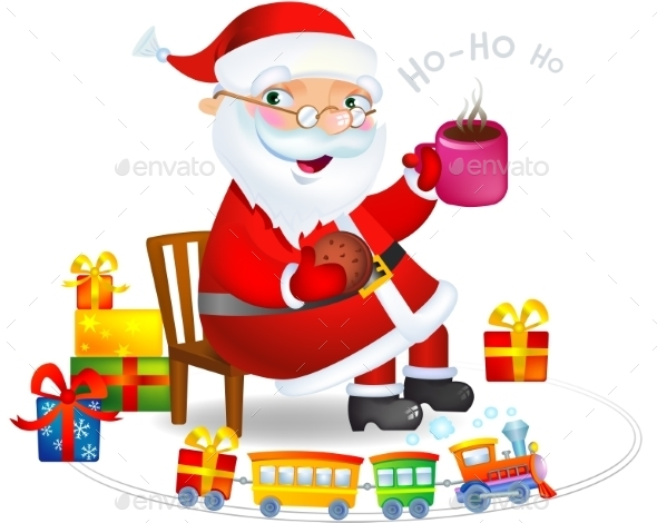Santa Claus with Tea and Cookies
