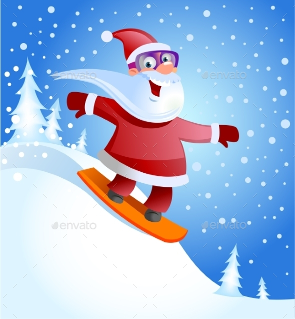 GraphicRiver Santa Claus on Snowboard 9726151