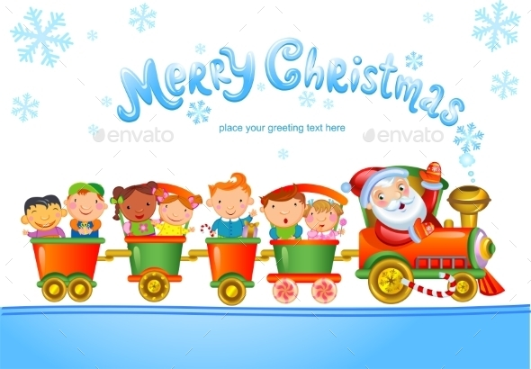 GraphicRiver Toy Train with Santa Claus and Kids 9726170