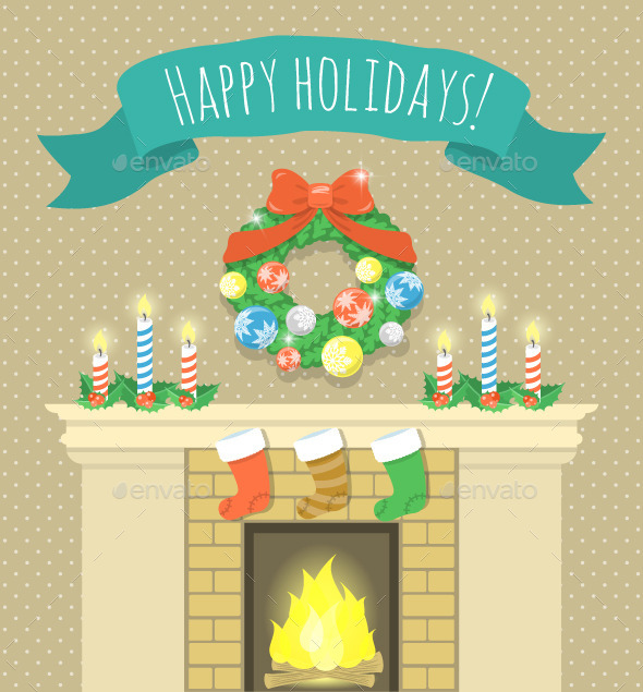 GraphicRiver Christmas Fireplace Illustration with Ribbon 9726648