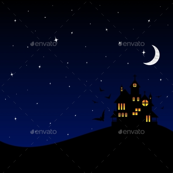 GraphicRiver Halloween Castle at Night 9726768