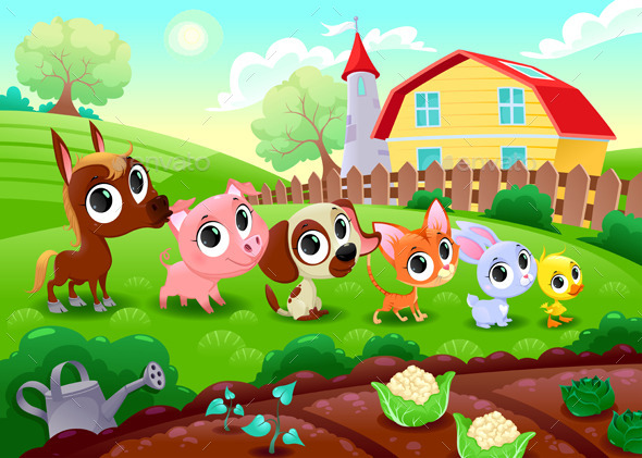 GraphicRiver Farm Animals in the Garden 9727006