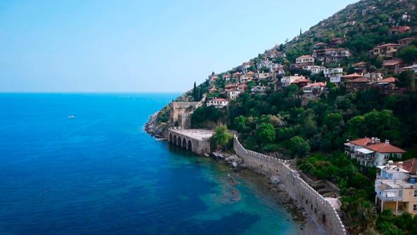 Light-Colored Houses On Mediterranean Sea Shore