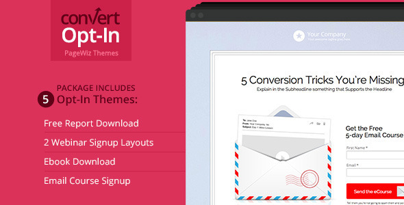 ThemeForest Opt-In Landing Page Package PageWiz Template 9727530