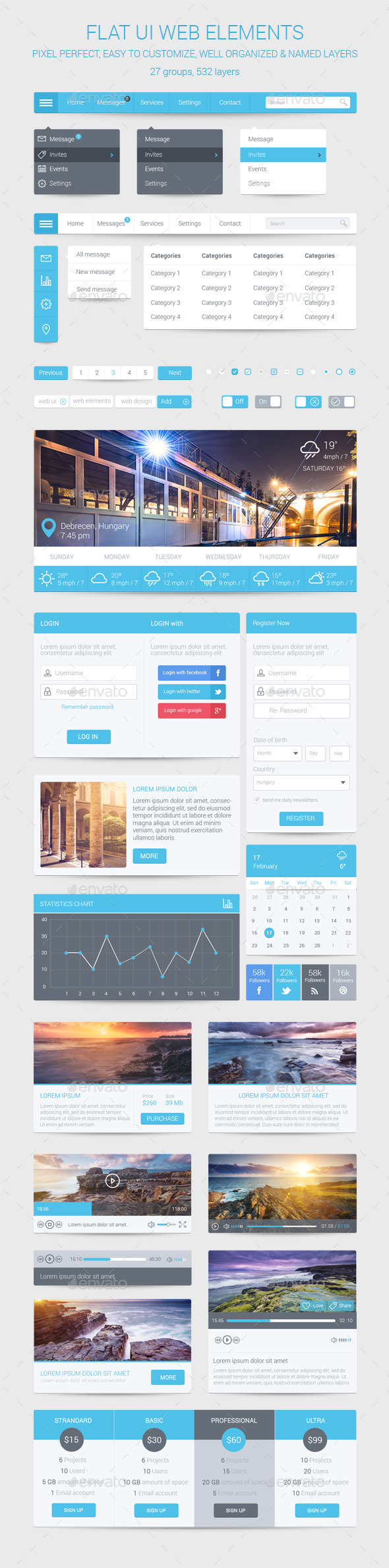 GraphicRiver Flat UI Web Elements 9727557
