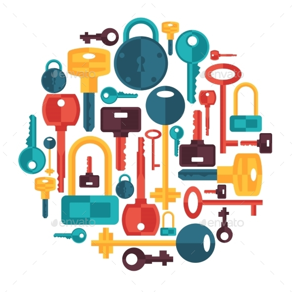 GraphicRiver Background Design with Locks and Key Icons 9727948