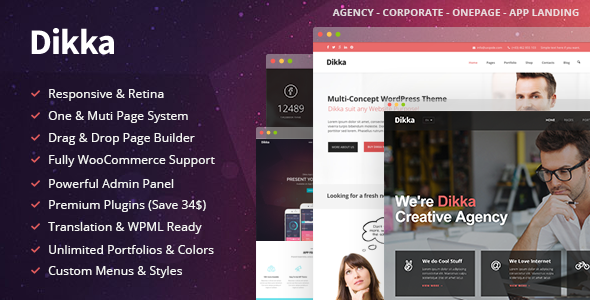 Dikka Multi-Purpose Wordpress Theme (v.1.0) Responsive multipurpose WordPress theme suitable for almost any type of website, creative design agency, web develo