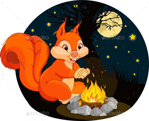 GraphicRiver Squirrel Campfire 9728984