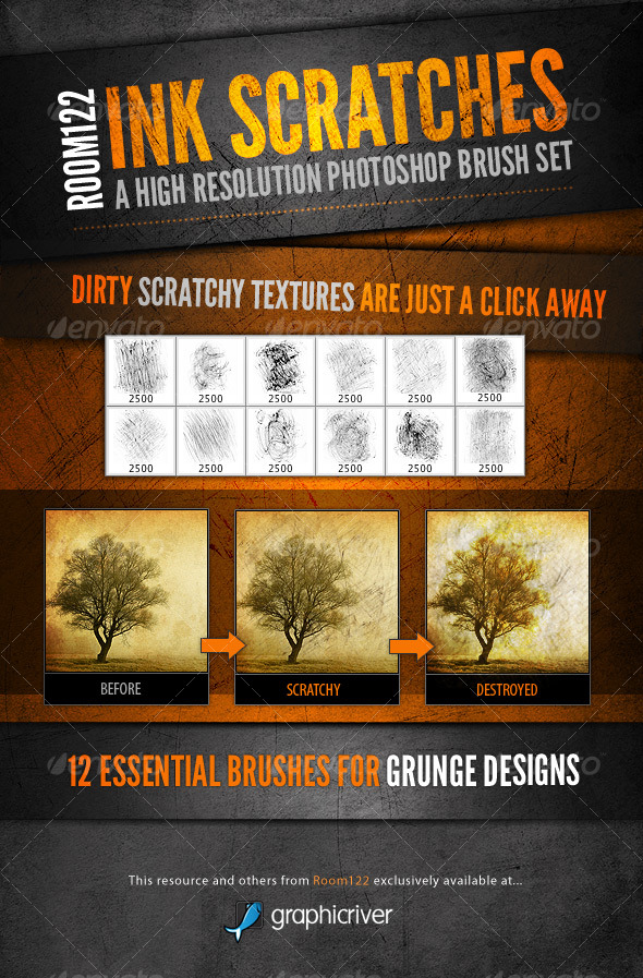 GraphicRiver Ink Scratches Photoshop Brush Set 123822